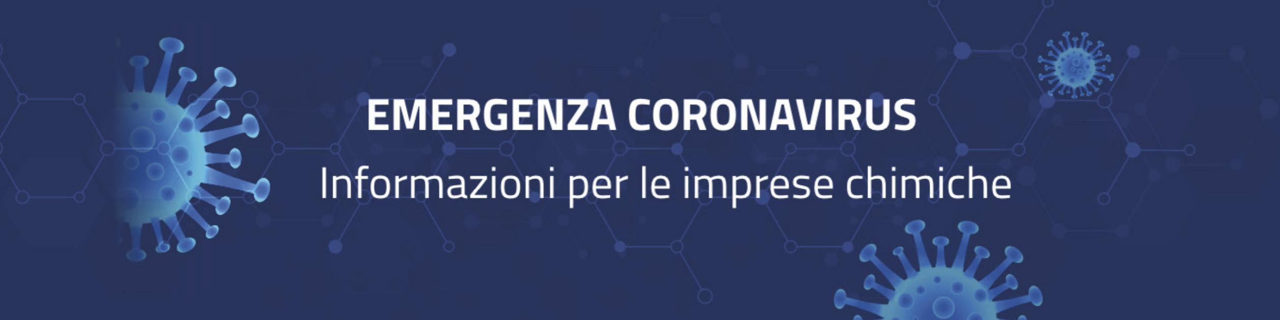 Emergenza Coronavirus - Informazioni per le imprese chimiche